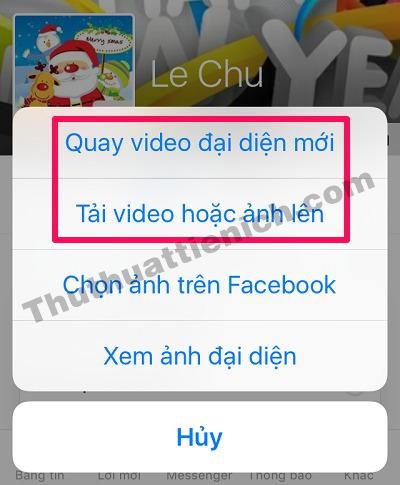 Có 2 tùy chọn cho việc cài đặt video làm ảnh đại diện Facebook đó là: Quay video đại diện mới và Tải video hoặc ảnh lên