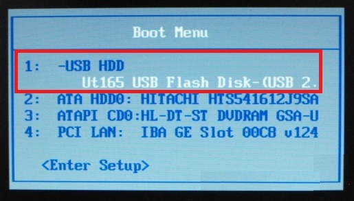 Chọn boot từ USB nhé ( là lựa chọn có chữ USB...).