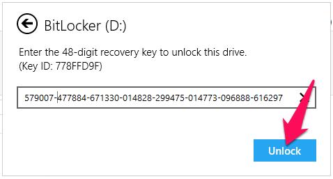 Nhập key này vào khung mở khóa BitLocker rồi nhấn nút Unlock