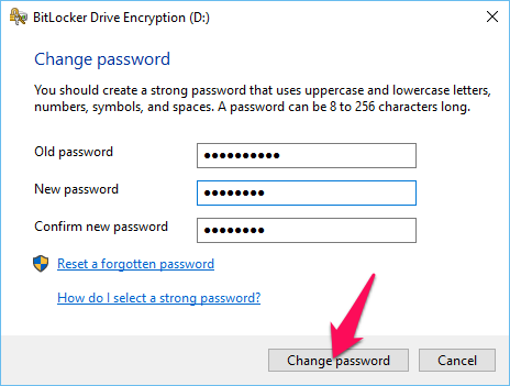 Enter your old password and click Change password