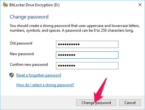 Nhập mật khẩu cũ và mới rồi nhấn nút Change password
