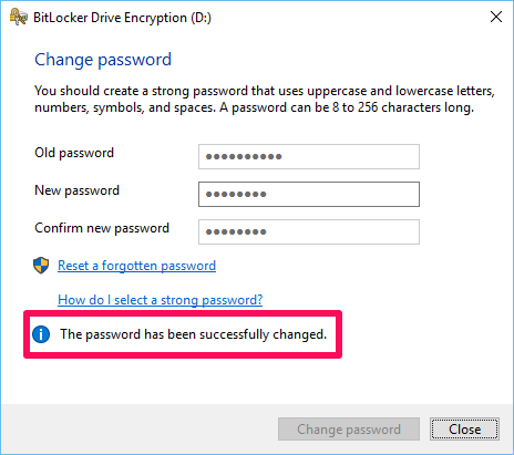 Successful password change notification