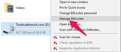 Nhấn chuột phải lên ổ đĩa được khóa với BitLocker (đã mở khóa) chọn Manage BitLocker