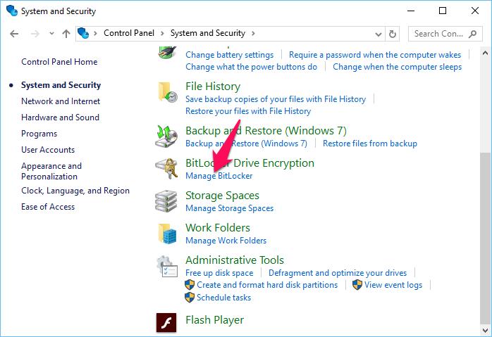 Nhấn vào dòng Manage BitLocker