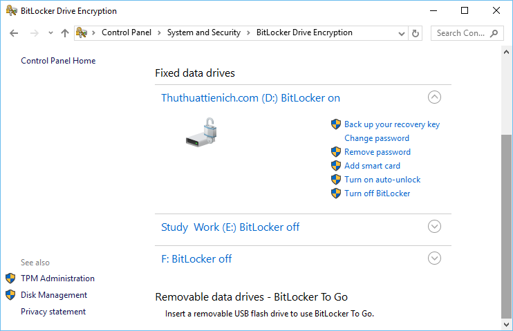 BitLocker management interface