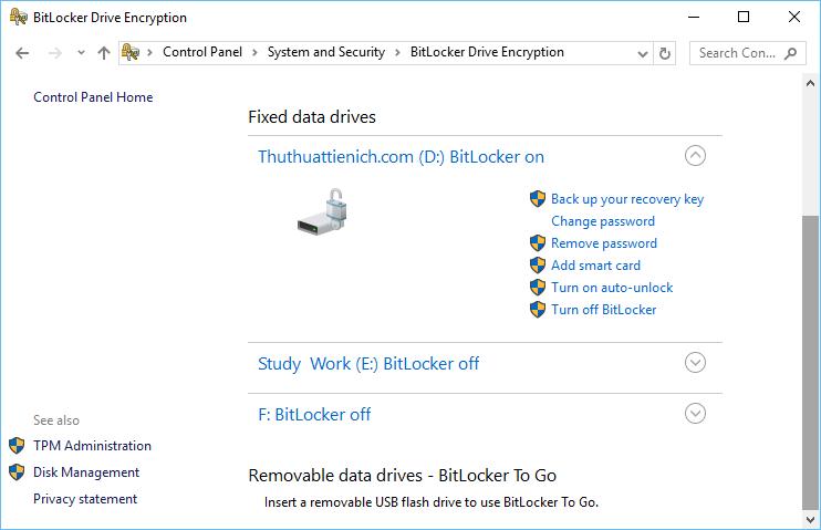 Giao diện quản lý BitLocker