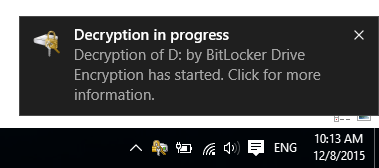 Start the decryption process, unblock BitLocker