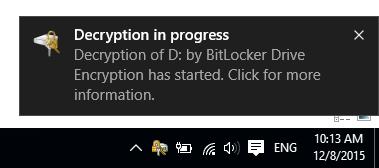 Bắt đầu quá trình giải mã, bỏ khóa BitLocker