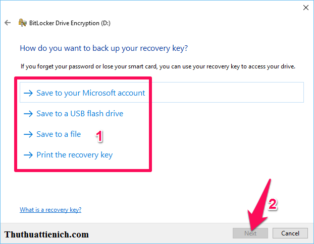 Save backup key