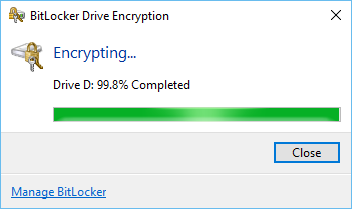BitLocker starts encrypting the whole drive