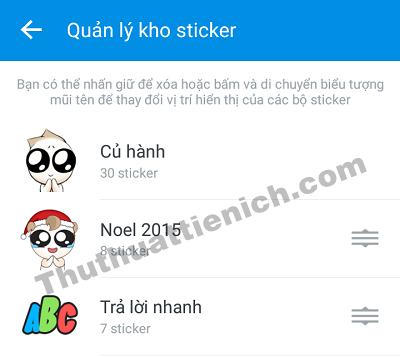 Tất cả những Sticker bạn đã tải về đều có ở đây