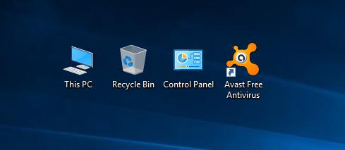 Biểu tượng Avast Free Antivirus trên màn hình Desktop