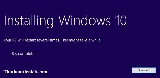 Bắt đầu quá trình cài đặt Windows 10