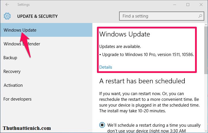 Chọn Windows Update