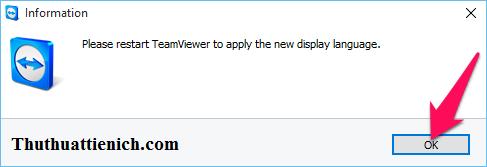 Nhấn nút Teamviewer và mở lại Teamviewer