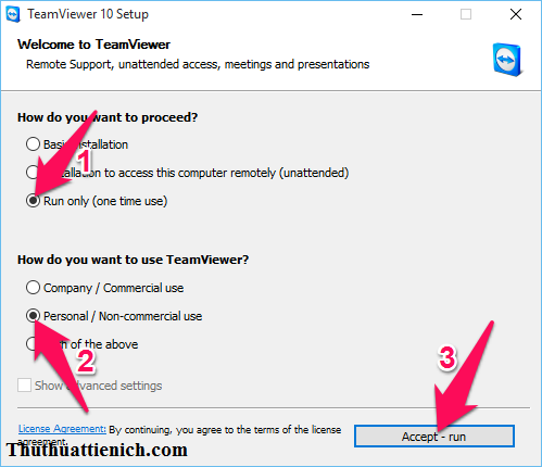 Chọn Run only (one time use) và Personal/Non-commercial use rồi nhấn nút Accept - run