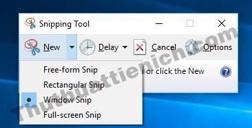 Các tùy chọn chụp ảnh màn hình với công cụ Snipping Tool