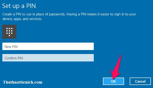 Nhập mã PIN rồi nhấn nút OK