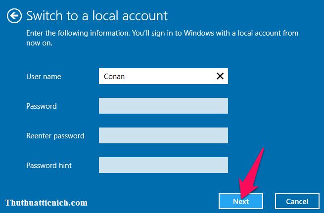 Nhập tên người dùng và mật khẩu (nếu muốn) rồi nhấn nút Next