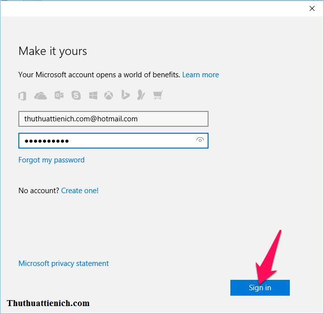 Đăng nhập với tài khoản Microsoft của bạn