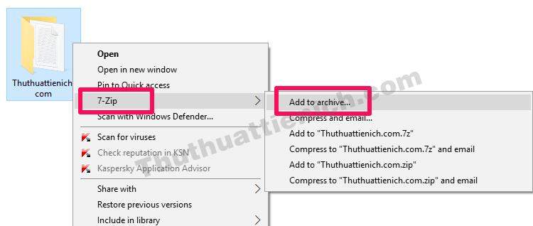 Nhấn chuột phải lên tập tin muốn đặt mật khẩu, chọn 7-zip, sau đó chọn tiếp Add to archive...