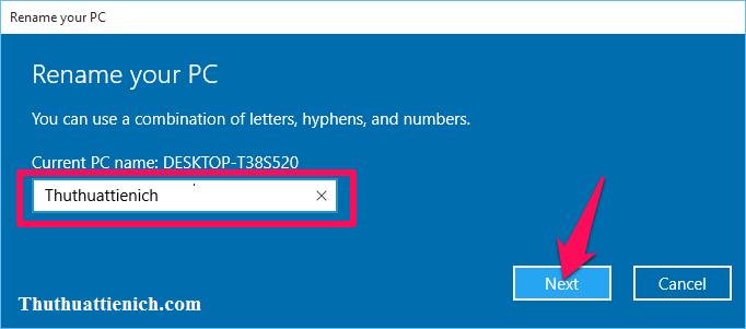 Nhập tên máy tính rồi nhấn nút Next