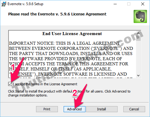 Tích vào phần I accept the terms in the License Agreement rồi nhấn nút Advanced