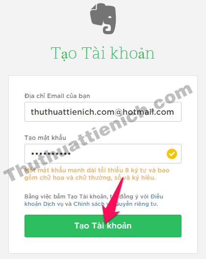 Nhập các thông tin vào khung đăng ký rồi nhấn nút Tạo tài khoản