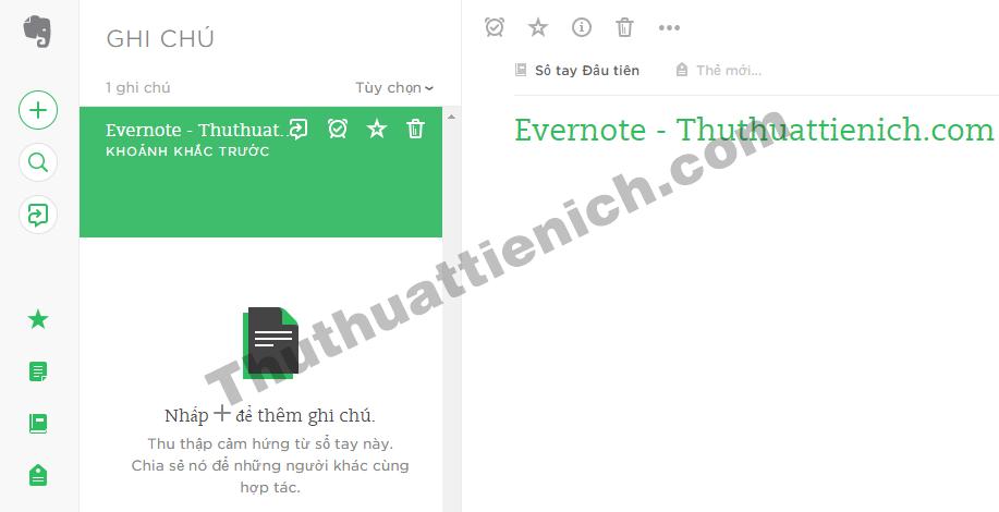 Giao diện Evernote phiên bản web