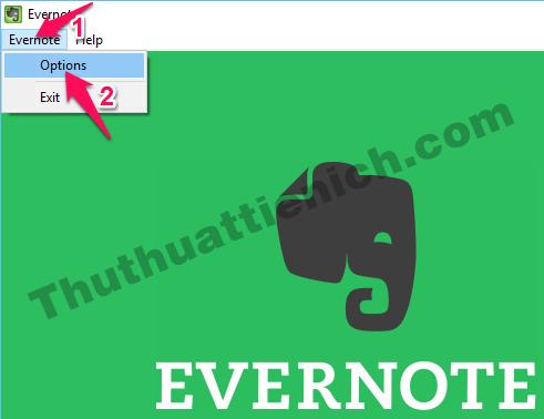 Nhấn nút Evernote trên thanh menu, chọn Options