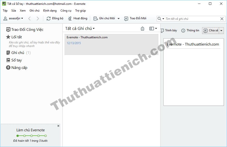 Giao diện phần mềm Evernote trên Windows