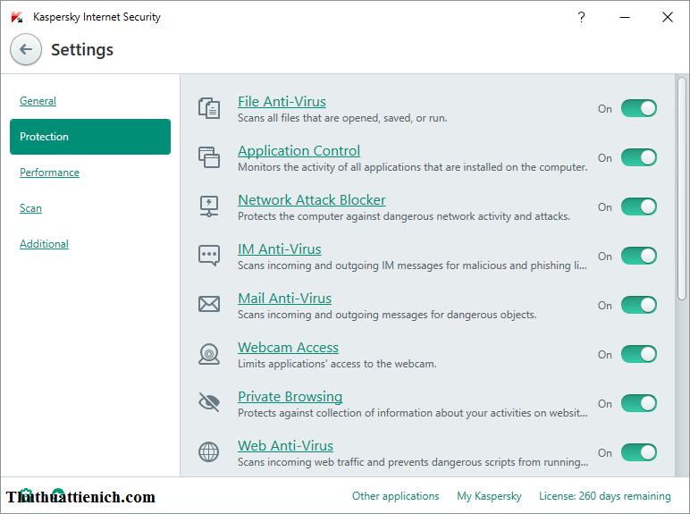 Các chức năng bảo vệ trên Kaspersky Internet Security 2020