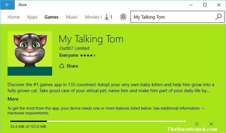 Bắt đầu tải về và cài đặt game My Talking Tom