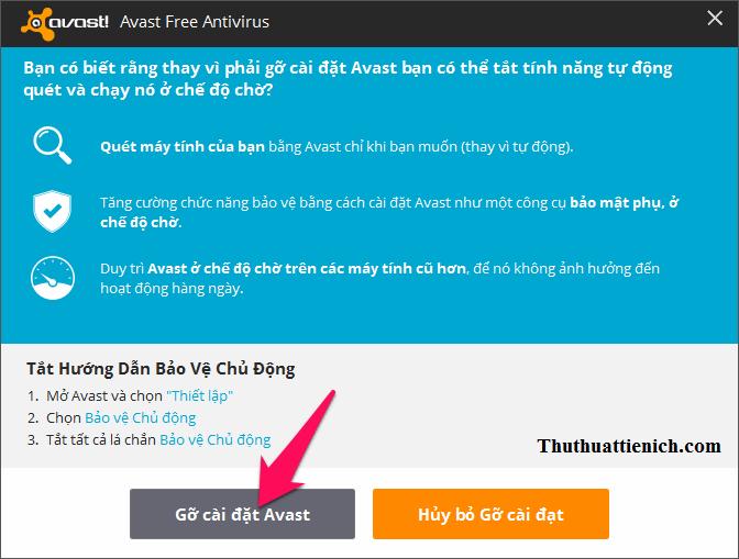 Nhấn nút Gỡ cài đặt Avast