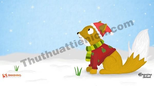 Chú cáo với bộ đồ mùa đông