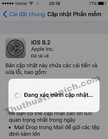 iPhone/iPad sẽ khởi động lại và tiến hành cập nhật