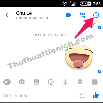 Nhấn nút (i) góc trên cùng bên phải cửa sổ chat