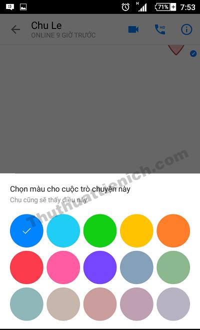Chọn màu sắc bạn muốn đặt cho cuộc trò chuyện