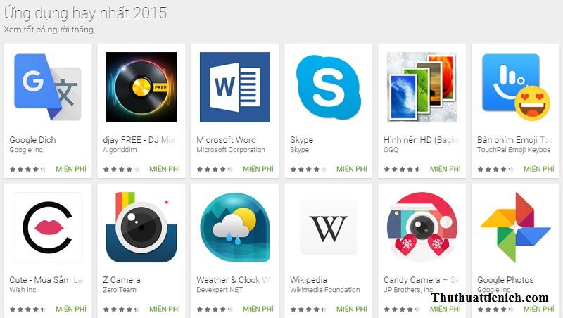 Ứng dụng Android hay nhất 2015