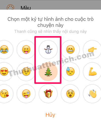 Chọn một trong 2 biểu tượng cây thông Noel hoặc Người tuyết