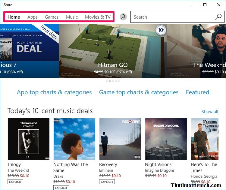 Menu của Windows 10 Store