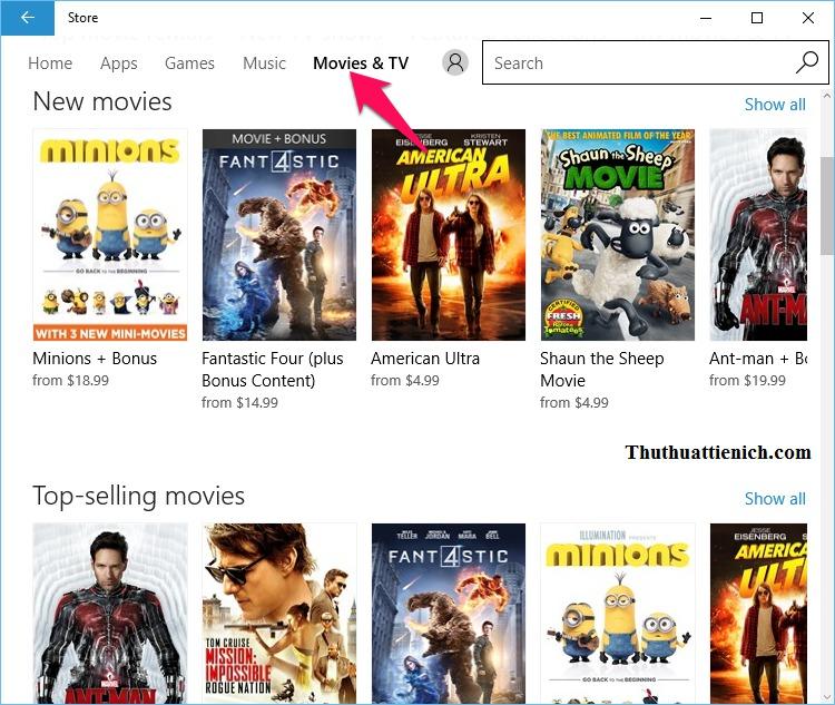 Chuyên mục Movies & TV (phim và chương trình truyền hình)