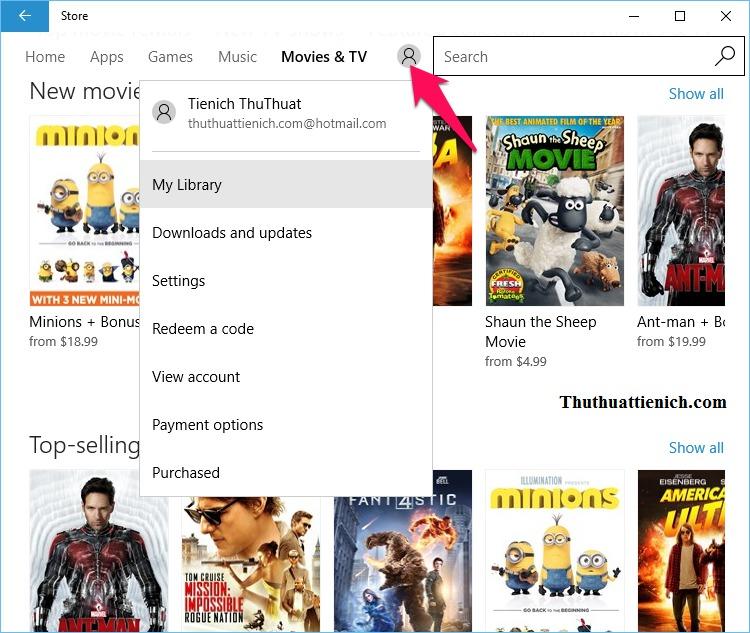 Quản lý tài khoản của bạn trên Windows 10 Store