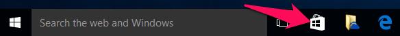 Windows 10 Store mặc định được ghim trên thanh taskbar