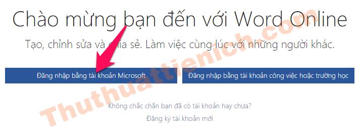 Nhấn nút Đăng nhập bằng tài khoản Microsoft