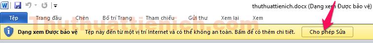 Nhấn nút Cho phép sửa khi sửa file Word với phần mềm Office