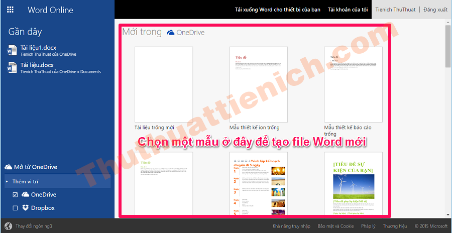 Chọn mẫu file Word mới trong phần Mới trong OneDrive