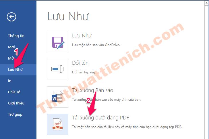 Tệp -> Lưu Như -> Tải xuống dưới dạng PDF