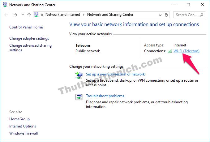 Nhấn vào tên mạng wifi đang kết nối trong phần Connections