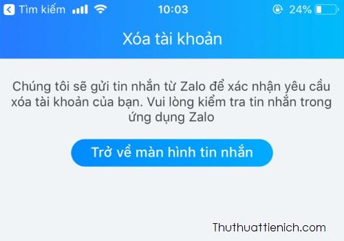 Zalo thông báo sẽ gửi tin nhắn xác nhận cho bạn, bạn mở phần tin nhắn sẽ thấy tin nhắn từ Zalo